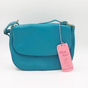 Vtg Leather Blue purse